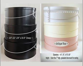 """Reserved for Jen … XXL Black ~ 20""""-24"""" x 8-9"""" (3) & Antique Rose 14""""-18"""" x 6""""-7"""" (4) Hatbox Sets ~"""