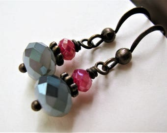 Gray and Pink Earrings, Gray Pink Fire Polish Bead Earrings, Pale Gray and Fuchsia Pink Antique Bronze Earrings