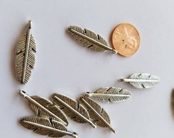 Metal feather charms