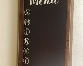 Kitchen Menu Board, Weekly Menu, Meal Planning, Days of the Week, with several Designs & Styles available