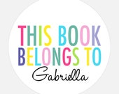 Custom book plate, Book Plate Stickers, Personalized stickers, Baby shower gift, Rainbow stickers, gift tags, this book belongs to