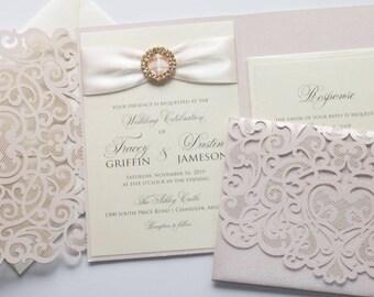 Elegant Wedding Invitation | Laser Cut Pocketfolder | Lace Wedding Invitation | Ivory & Blush Pink | Flourish | TRACEY Sample