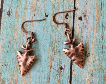 Arrowhead Earrings Copper Pewter Hammered