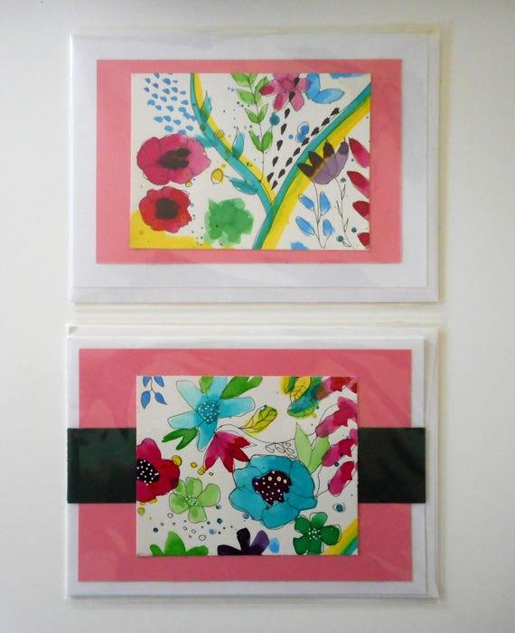 Original Watercolor Cards Set of 2 FREE SHIPPING Original Art Handmade Cards Floral