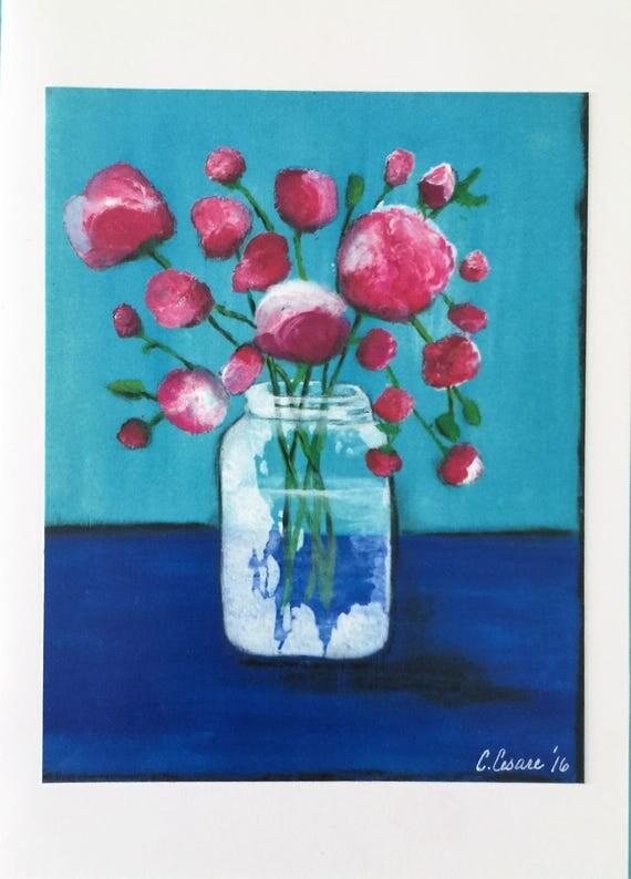 Original Art Card Vase of Flowers Blank Card Handmade Card Roses