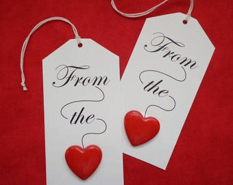 Button Gift Tags, From the Heart, Pack of 6