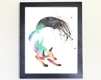 Dancing Fox Galaxy Spirit Animal Art Print Watercolor, Totem Guide