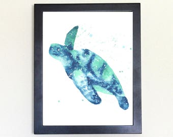 Sea Turtle Spirit Totem Animal Art Print Watercolor