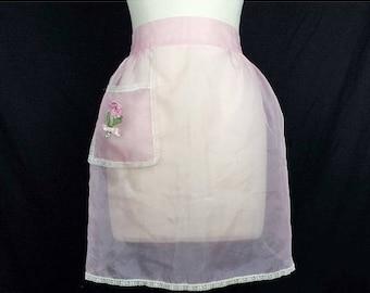 ON SALE Vintage Sheer Pink Half Apron Flower Pocket