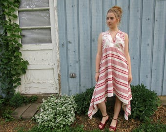 Upcycled Toile Stripe Hi Low Cotton Day Dress// Surplice Crossover// Empire Waist// Medium Large// Summer// emmevielle