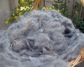 Washed Alpaca Fiber Medium-gray Brown Tips Some Luster Very Nice Handle Spin Needle Felt Varied Hues & Staples Approx. 3.75, 1/2 Pound