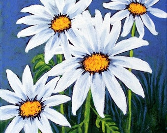 """Original Daisy flowers Painting, 12""""x12"""" framed in a black floater frame"""