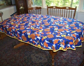 OOAK cotton Halloween tablecloth witches ghosts spiders pumpkins 60X94 oval