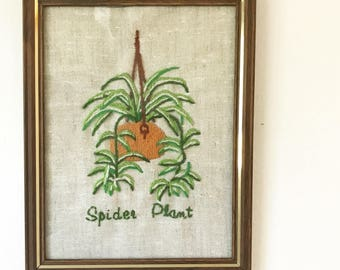 vintage spider plant crewel - boho plant lover wall decor