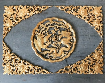 vintage wall hanging - Asian dragon and phoenix plaque - gold floral filigree medallion - chinoiserie boho - 5 piece set