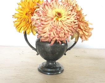sugar bowl with engraved design on front - Rogers silver - cottage flower vase