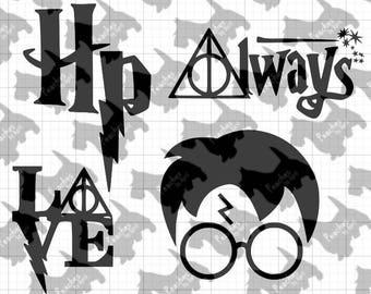 Set of 4 Harry Potter SVG Cut Files - Cricut - Silhouette - Vinyl