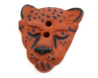 "LG Ceramic CAT head Button, Handmade Cheetah, leopard, bengal with spots, 1""."