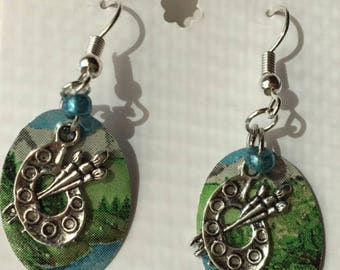 Paint palette recycled can earrings