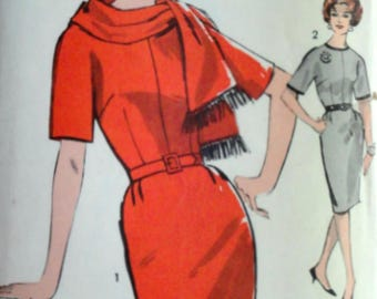 Sewing Pattern, Vintage 60's Advance 3014, Sew-Easy, Juniors Dress And Scarf, Size 13, 33 Bust, Uncut FF, Mad Men  1960's, Beginners Pattern