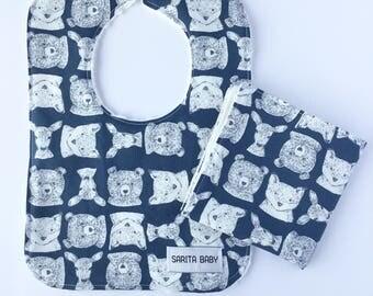 Baby Shower Gift Set - Baby Bib - Baby Washcloth - Woodland Friends Bib - Washcloth - Gift for baby -  Deer Bib - Baby Gift