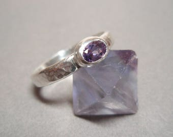Hammered Amethyst Stackable Hand Made Sterling Silver Ring Size 9