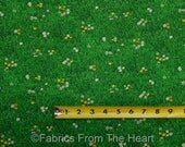 Landscape Medley Green Grass w White Yellow Flowers BY YARDS Elizabeth's Fabric