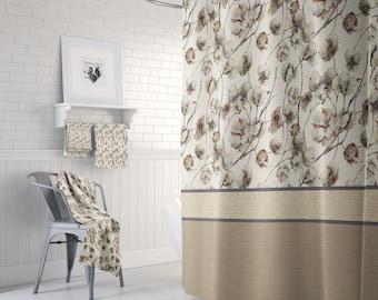 Cotton Boll Shower Curtain, Faux Burlap , Farmhouse Chic , Bath Mat, Bath Towels