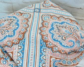 Vintage 70s Indian Paisley Mandala Henna Medallion Print Full Flat Bed Sheet Blue Teal Rust Brown Orange Fabric