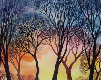 Sunset Lace VI an original watercolor