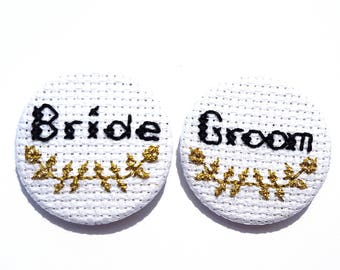 Bride Groom Pins-Set of Two-Bridal Badge-Same Sex Couple-Wedding Accessory-Bridal Party Gifts-Floral Pins-Cross Stitch Pin-Offbeat Bride Fan