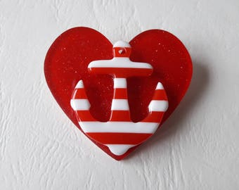 Heart and anchor striped ♥ brooch red and white ♥