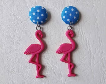 Earrings - blue circles with dots and flamingos