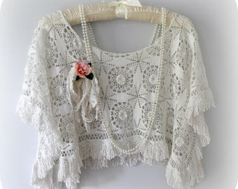 French Crochet Shawl, Delicate Fringe, Wedding Shrug, Mother of Bride, White Dimensional Crochet, Shabby Chic, Small to Medium