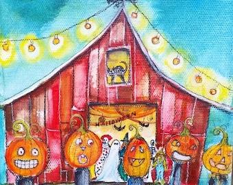 Halloween Barn Bash, Barn, 8 x 8  PRINT