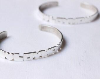Cuff bracelet NAME Bracelet, Personalized Jewelry, Sterling Silver Name bracelet, Custom letters Bangle