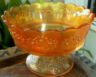 Carnival Glass Orange Tree Marigold Compote Iridescent Flowered Bowl with Stem / Collectors Piece Vintage Carnival Orange Tree