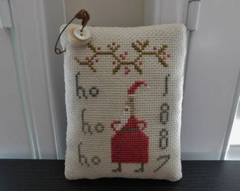 "Completed Cross Stitch, ""Ho Ho Ho"" Santa Pinkeep, primitive Christmas decoration, Old Farmhouse pin cushion, Pineberry Lane"