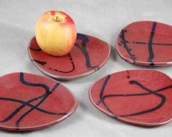 Appetizer Plates Set of 4 Dessert Plates Side Plates in Red with Black Lines