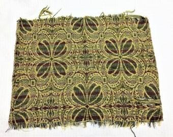 Antique 1800s Ingrain Carpet Fragment Great For Dollhouse Carpet
