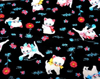 Fluffy Kitten print half meter 19.6 by 42 inches nc12