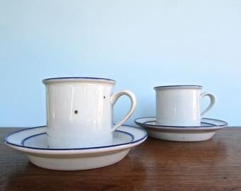 Niels Refsgaard Dansk Blue Mist Vintage Mugs & Saucers, Made in Denmark, Danish Modern Stoneware