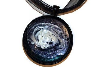 Geologist Jewelry - Galaxy Pendant - Hand Painted Moon Necklace- Black and White Abstract Necklace - Galaxy Necklace - Cosmic Jewelry