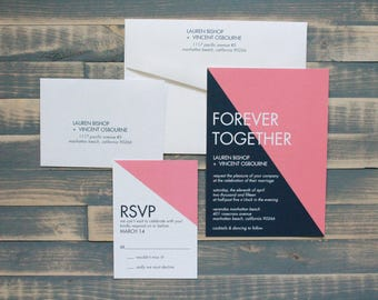 Minimalist Coral and Navy Wedding Invitations | Minimalist Wedding Invite | Modern Invitation Suite | Simple Cheap Invite | Lauren & Vincent