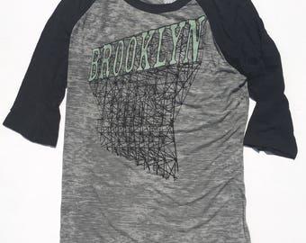 Brooklyn Baseball Shirt, Sign in Unisex Burnout Grey and Black