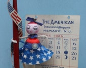 Vintage Style Spun Head Gal, Fourth of July - 4th of July, Insurance Calendar, 1936