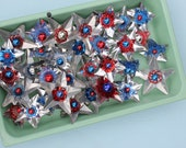 TRIO -Vintage Reflector Fourth of July, Red, White and Blue Star Clips - Set of THREE