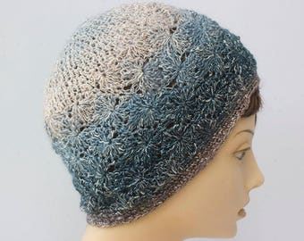 Hand Crochet Hat, Sparkly Blue Hat, Cotton Vegan Beanie Hat, Ready to Ship