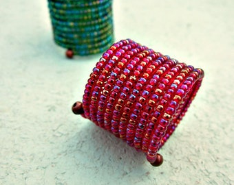 Ring, Flexible Wide Glass Beaded Red or Green Wrap: Fable