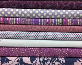 Quilt Sandwich's Color Pack - 10 Fat Quarters - Purple